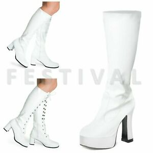 Womens-Ladies-Mens-White-Knee-High-Eyelet-Platform-Disco-Fancy-Dress-Boots