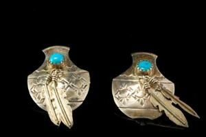 VINTAGE-NAVAJO-NATURAL-BLUE-TURQUOISE-FEATHER-STERLING-EARRINGS-A712-52