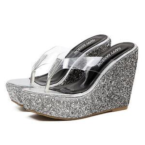 Sandales femmes chaussons argent tongs sabot compensé compensé sabot 12 élégant et ... 01c722
