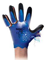 10 X Pair Of Showa 306 Fully Coated Waterproof Latex Grip Breathable Work Gloves