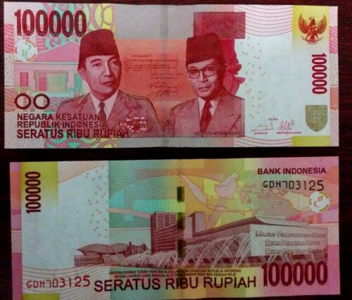 100000 10 X Indonesia Money 100,000 Rupiah Notes Uncirculated 2014 Emission