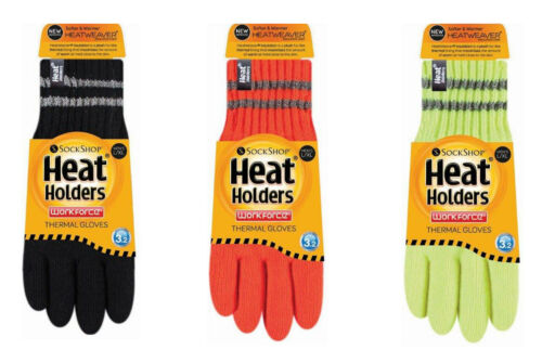 Mens Thick Thermal Insulated Reflective Hi Vis Winter Work Gloves Heat Holders