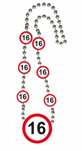 Halskette Medallion 70cm Verkehrsschild Zahl 16 Geburtstag Kette Party