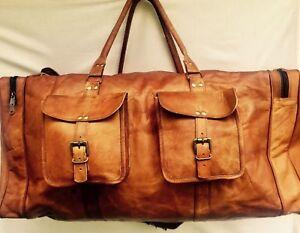 Men-039-s-Genuine-Leather-Cowhide-Brown-Large-Capacity-Travel-Luggage-Duffle-Gym-Bag