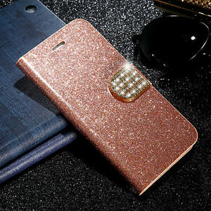 Bling-Diamond-Leather-Flip-Stand-Card-Slot-Wallet-Case-Cover-For-iPhone-Samsung