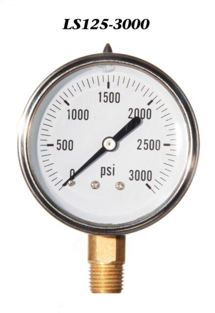 New Hydraulic Liquid Filled Pressure Gauge 0-3000 PSI