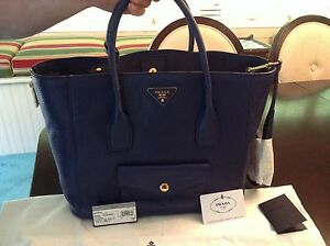 7129223ee003 Image is loading Prada-Daino-Side-Zip-Twin-Pocket-Tote-Bag-
