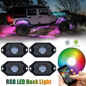 RGB LED Rock Light Wireless Bluetooth Music Offroad Truck UTV Multi-Color 4-Pods