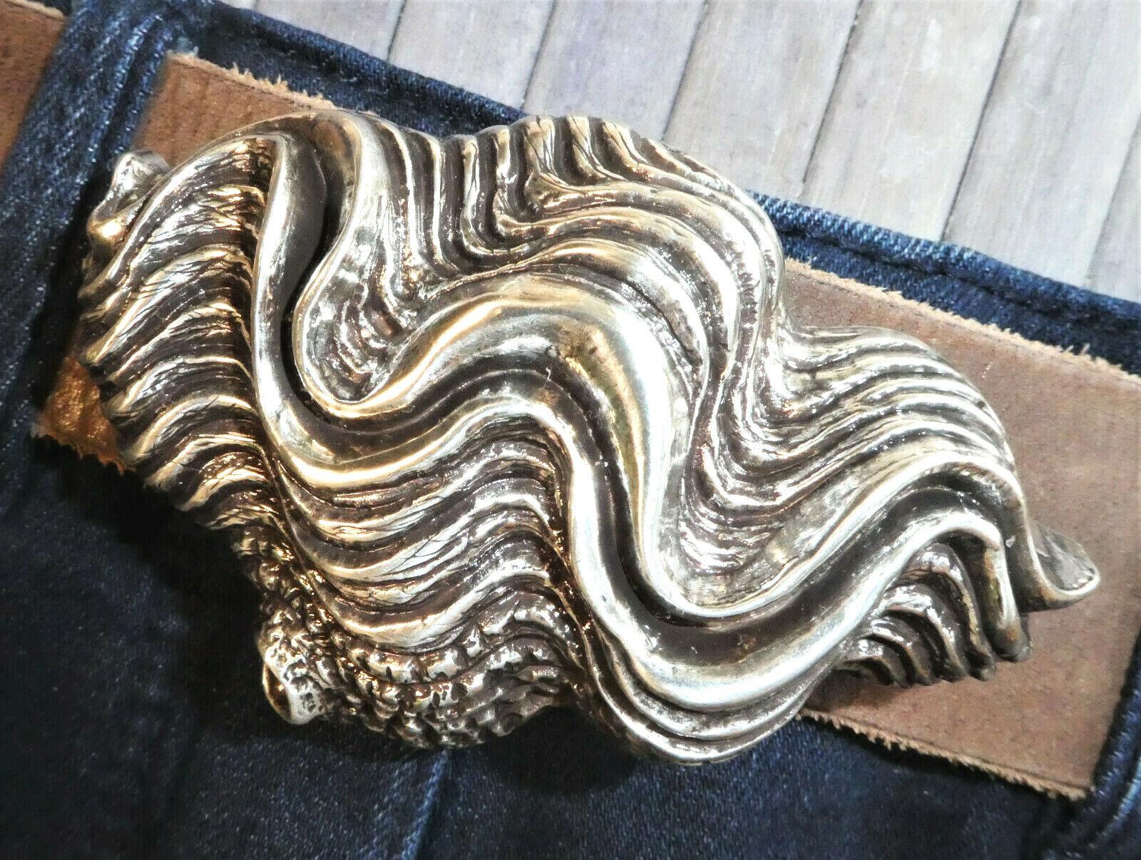 Muschel / Welle / Maritim Gürtelschnalle Wechselschnalle Buckle 4 cm