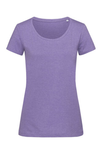 Ladies Womens Melange Cotton Blend Short Sleeve Crew Neck Tee T-Shirt Tshirt