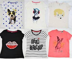 Ete-Filles-M-amp-S-Coton-T-shirts-Pug-levres-herisson-bonjour-marks-and-Spencer