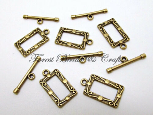 10 Sets Fancy Deco Toggle Clasps~ Bronze Plated ~ 20mm x 11mm Rectangle Tibetan