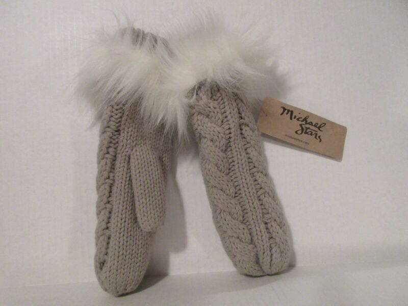 LADIES  KNITTED MITTENS GLOVES WITH FAUX FUR CUFF GL409