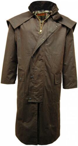 Mens Game Stockman Long Cape Horse Riding Fishing Hunting Wax Waxed Coat Jacket
