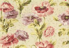 Waverly Fabric Irish Summer Cream Green Lavender Rose Cotton Drapery Upholstery