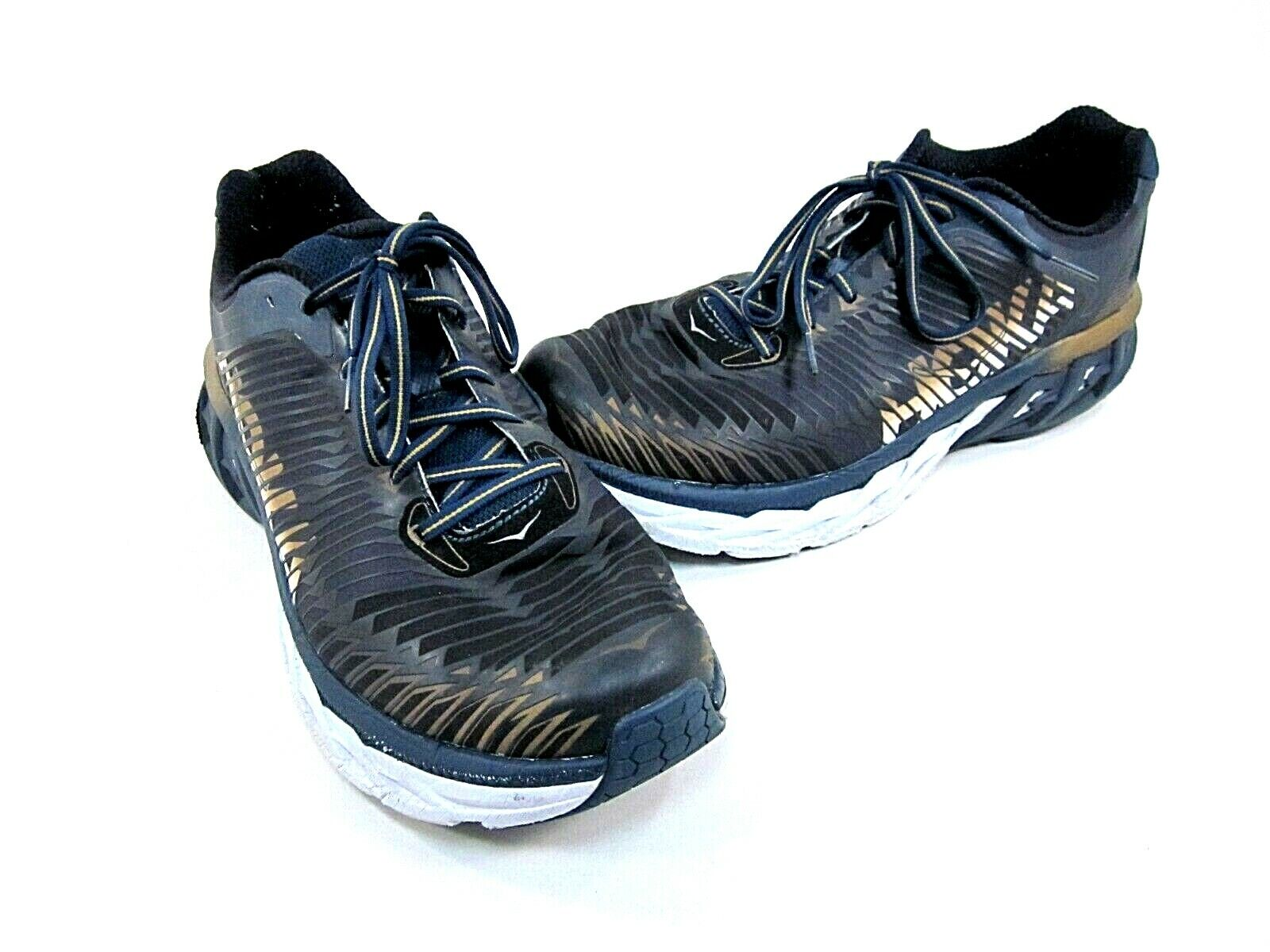HOKA ONE ONE MEN'S ARAHI RUNNING SHOE, NAVY gold, US 13 MEDIUM, PRE-OWNED