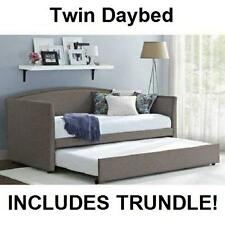 Daybed with Trundle Gray Upholstered Linen Day Bed Grey Twin Sofa Sleeper NEW