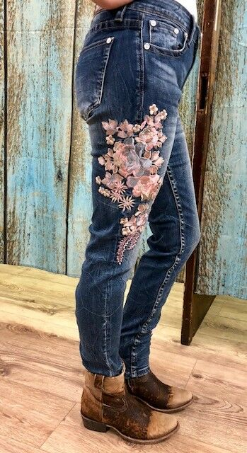 Grace in LA Women's Pink Floral Embroidered Skinny Jeans EN-2189  SALE