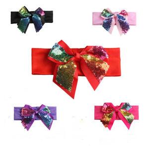 Baby Toddler Girls Kids Gillter Bow Knot Turban Headband Hair Band Headwrap 6A