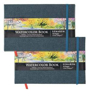 """5.5"""" x 8.5"""" Art Watercolor Book, 2 Pack, 76 Sheets, 110lb, Linen-Bound Hardcover"""