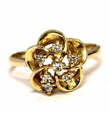 14k yellow gold .15ct SI1 H diamond cluster ring 3.3g vintage estate antique