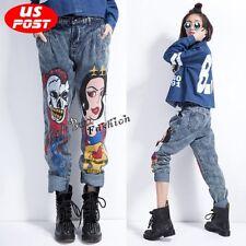 Hip Hop Jeans Skull Printing Slack Pants Loose Punk Harem Baggy Trousers