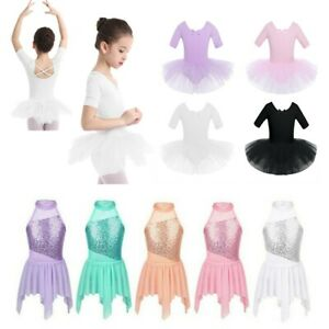 Kids-Girl-Ballet-Dress-Skating-Halter-Gymnastic-Tutu-Skirt-Performance-Dancewear