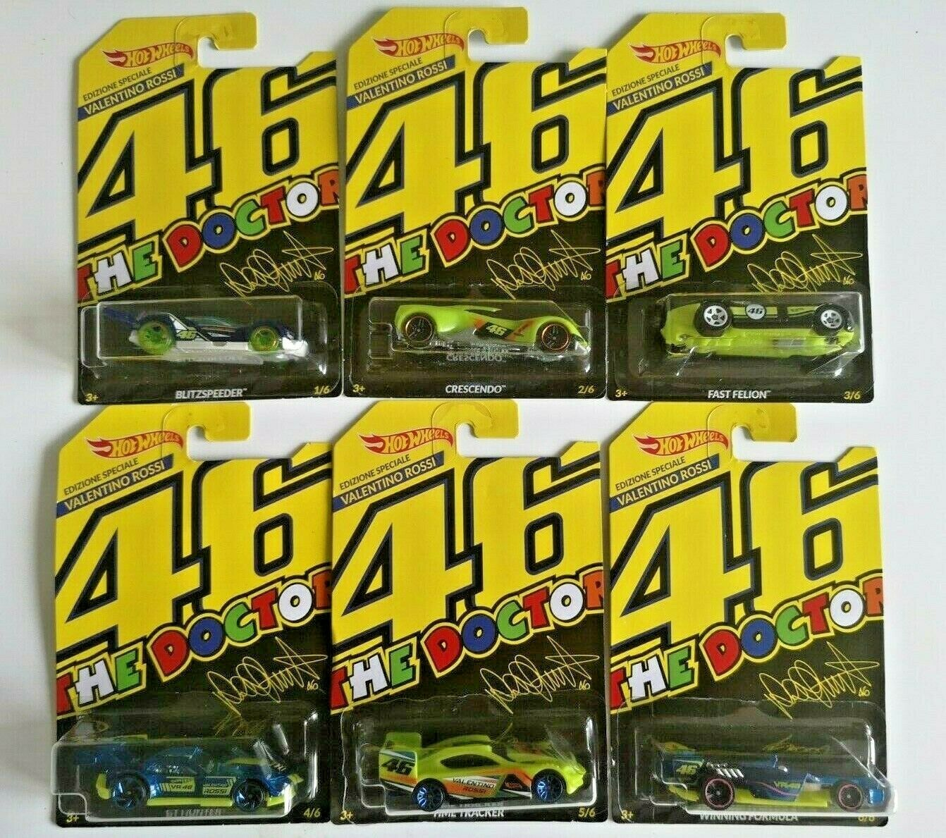HOT WHEELS 2018 VALENTINO ROSSI SET LIMITED EDITION for ITALY Doctor 46 full set