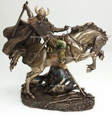 *** NEW VIKING WARRIOR Rearing on Horse Statue / Sculpture Antique Bronze Finish