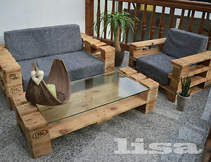 lounge gartenm bel tisch palettenm bel terrasse vintage design balkon glas ebay. Black Bedroom Furniture Sets. Home Design Ideas
