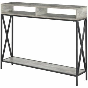 Convenience Concepts Tucson Deluxe Console Table in Faux Birch Gray Wood