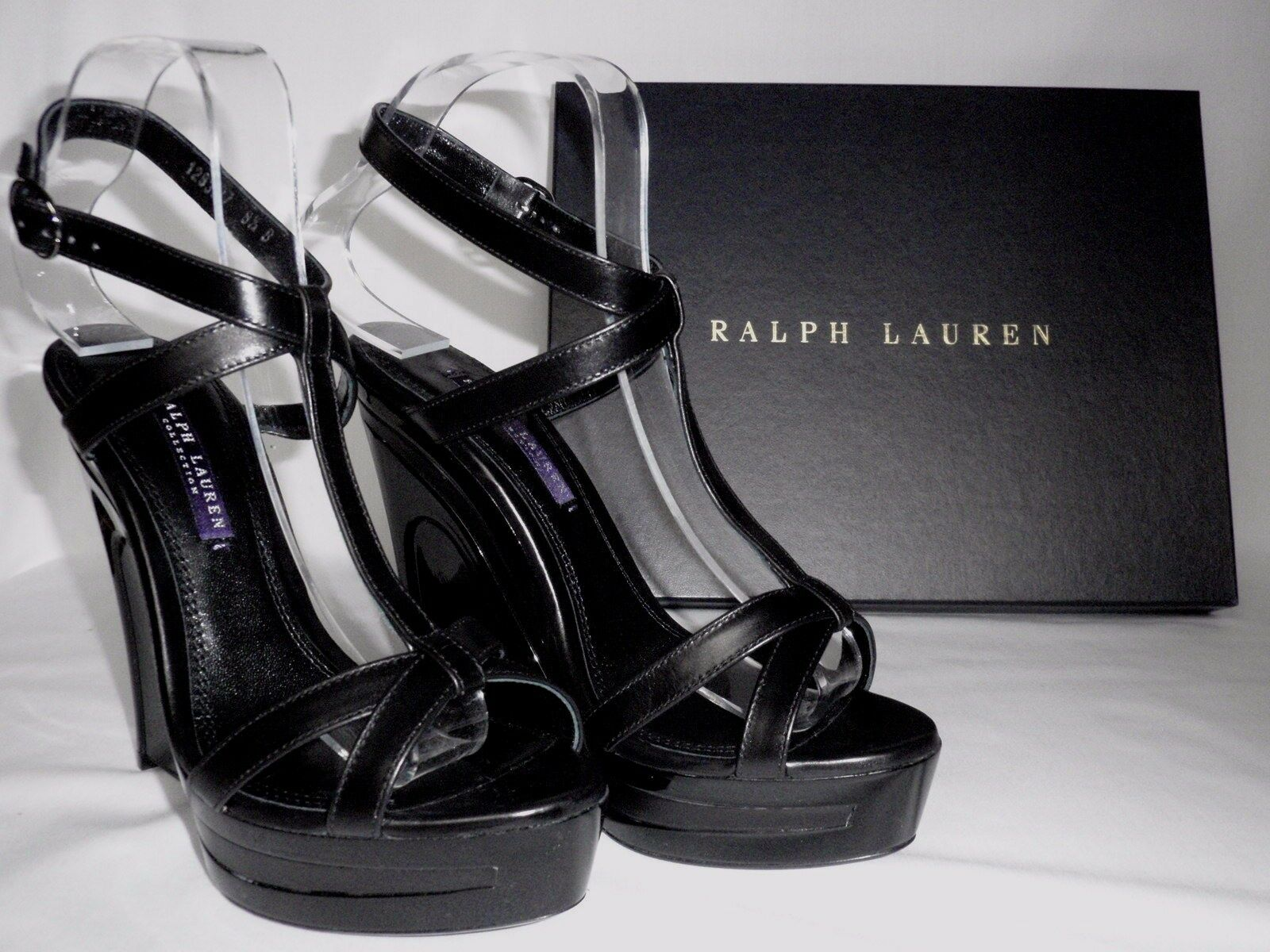 New RALPH LAUREN  Ladies ATARA nero Leather Wedge Sandals scarpe UK 4 EU 37  distribuzione globale