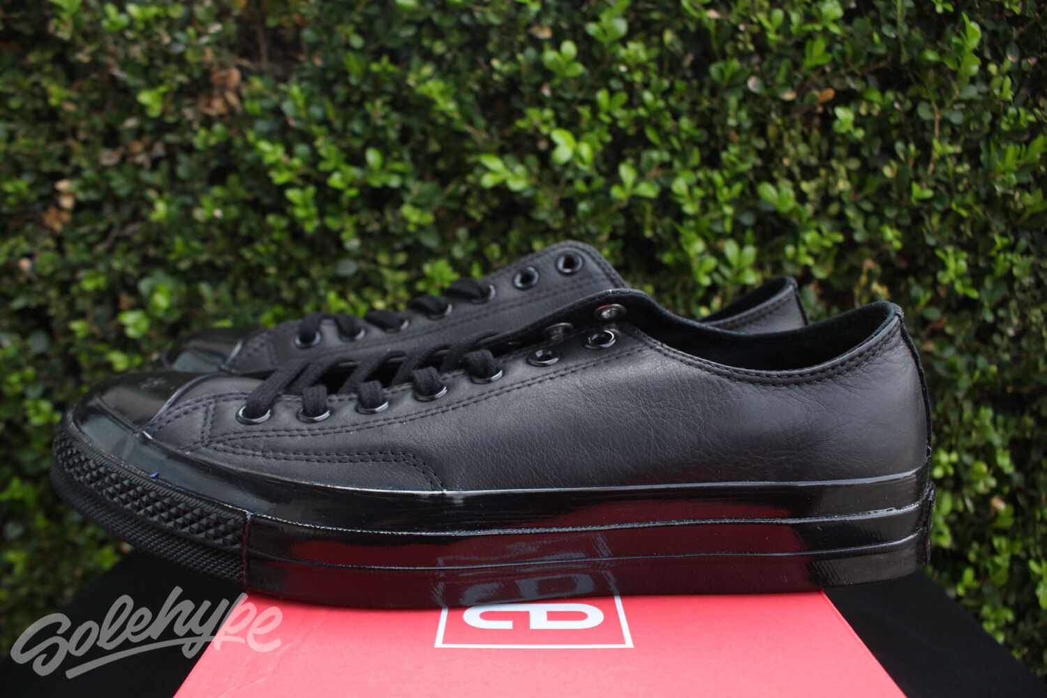 CONVERSE CHUCK TAYLOR ALL STAR 70 OX SZ 9.5 LEATHER TRIPLE BLACK LOW TOP 155456C