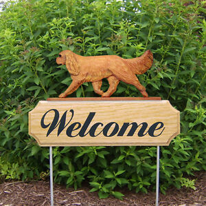 Cavalier King Charles Spaniel Dog Breed Oak Wood Welcome Outdoor Yard Sign Ruby