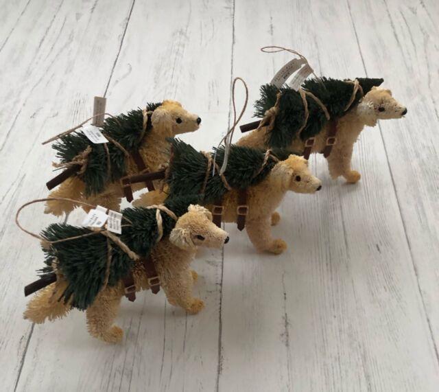 Pottery Barn Bottlebrush Lab Ornament Set 4 Ebay