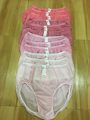 LACY VINTAGE SILKY NYLON GUSSET LACE PANTIES BRIEFS VINTAGE KNICKERS XL 12 PCS