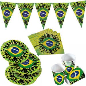 brasilien fussball geburtstag party deko tischdeko teller. Black Bedroom Furniture Sets. Home Design Ideas