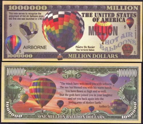 Balão De Ar Quente Novidade milhões de notas de dólar-Lote De 2