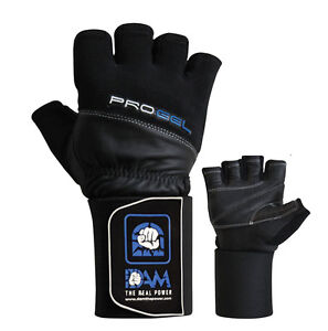 DAM-Pro-Gel-Weight-Lifting-Gloves-Gym-Body-Building-Gloves-Straps-Bar-Leather