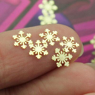 100pcs Nail Art Design Tips Decoration Metallic Gold Snowflake Decals Wraps Xmas