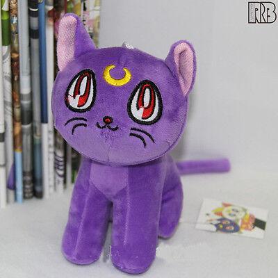 17CM Sailor Moon Purple Cat Luna Plush Doll Toy Costumes Cosplay Purple free