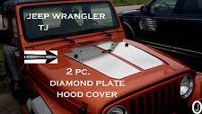 JEEP WRANGLER TJ 2pc DIAMOND PLATE HOOD COVER      With 2 Washer Fluid Holes