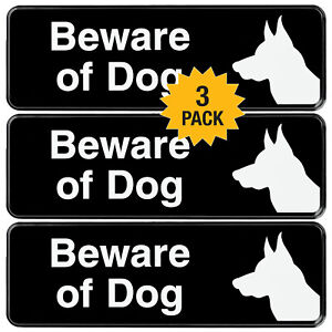 Easy to Mount Informative Plastic Sign with Symbols 9x3 Pack of 3 Black Beware of Dog Sign