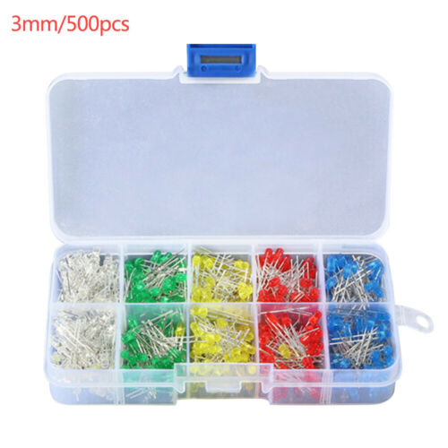 500pcs LED Light Emitting Diodes 3mm Round Head 2Pin Diode Multicolor Bulb Kit