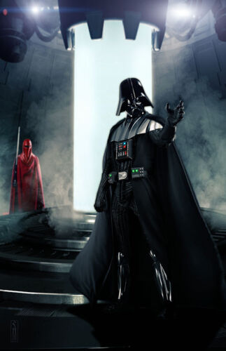 Star Wars Darth Vader Castle on Mustafar Original Art Print signed Scott Harben