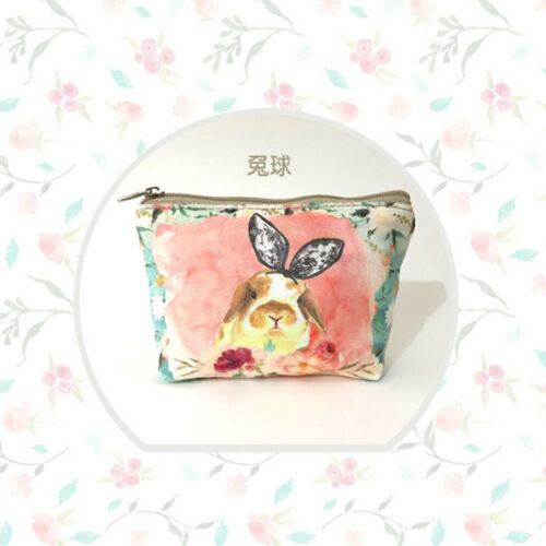 Women Mini Animal Printed Change Pouch Key Holder Canvas Coin Purse Wallet Case