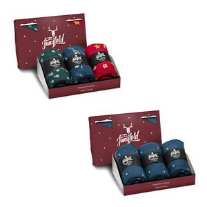 Von-Jungfeld-3er-Pack-Men-039-s-Socks-Gift-Box-Weihnachtsset-Colour-Selection