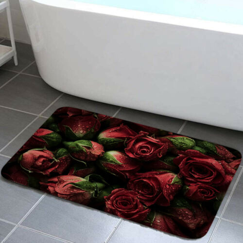 Dew Red Rose Shower Curtain Bathroom Decor Fabric /& 12hooks 71in