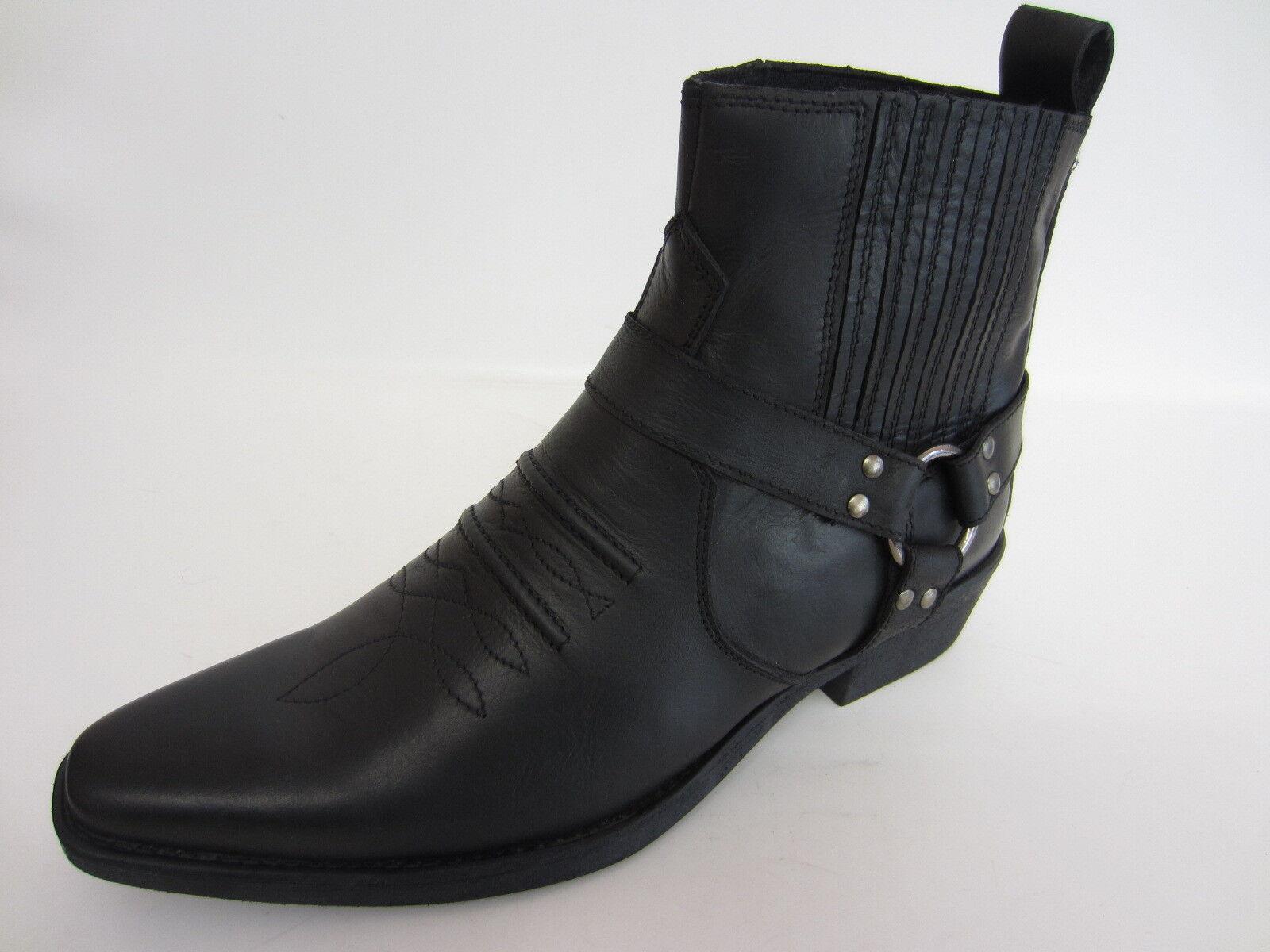 Maverick A3R003 para hombre Negro Cuero tire de botas (R25A medio)