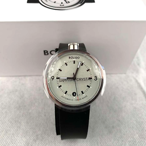 New-BOLIDO-ELEGANCE-Men-039-s-Automatic-Watch-Silver-Black-Leather-Strap-Swiss-Made